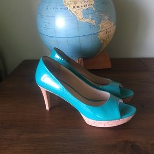 Via Spiga patent leather peep toe pumps